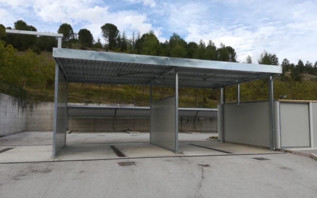 copertura autolavaggio con pannelli installata a Sassoferrato