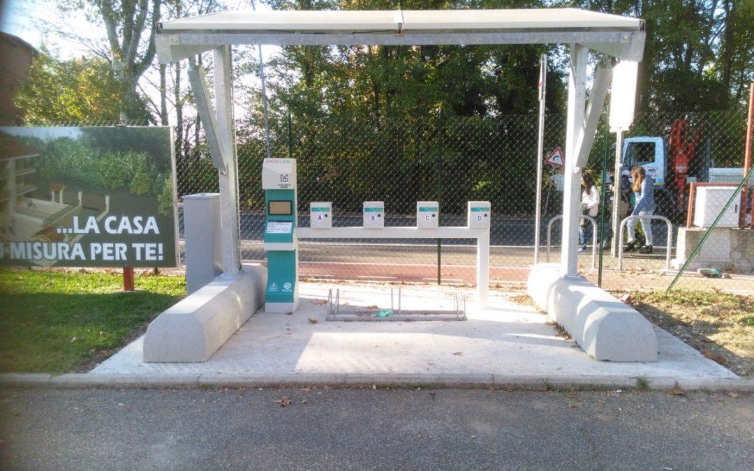 Fotovoltaica a sbalzo per ricarica installata nel Comune di Monterotondo-Roma