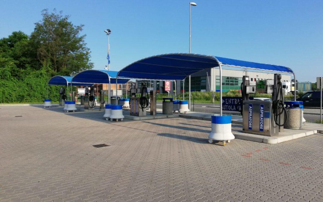 copertura ombreggiante autolavaggio Installato a Como